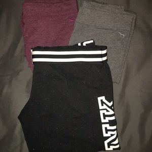 2 Pink Leggings (s) and Pink joggers (m)